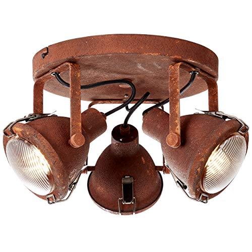 Brilliant 26834/60 Plafondlamp 3 l Metaal/Glas Roest Zwart