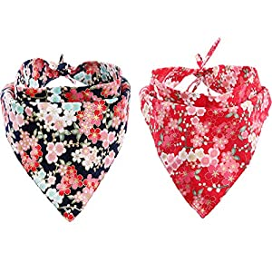 KZHAREEN 2 Pack Dog Bandanas Triangle Bibs Scarf Accessories Japanese Style