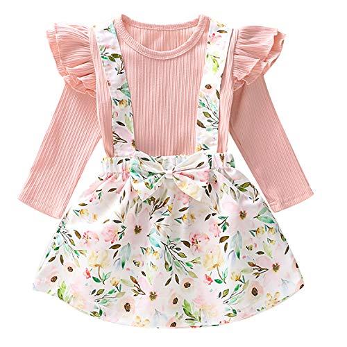 Borlai 1-6Y Conjunto de ropa de moda para niñas pequeñas, conjunto de camisa + falda de tirantes florales para niñas, 2 piezas