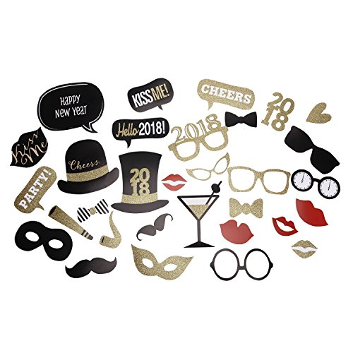 Baigio Woman 32 Pieces 2018 New Year Photo Booth Props Photo Booth Prop for New Year Eve Home Gradution Ceremony Wedding Party DIY Kit