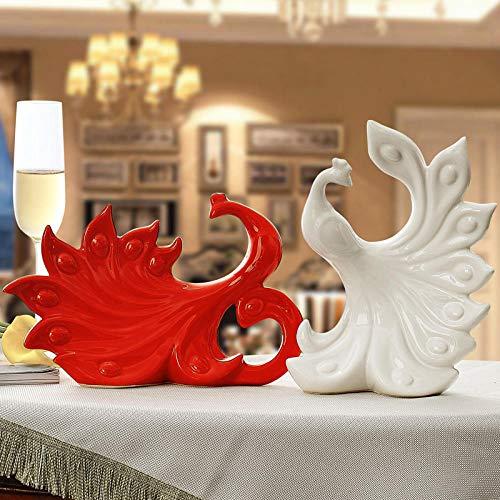HTRN Statua Animale in Ceramica Ornamenti di Ceramica Decorazioni per la casa Ceramica Artigianato Figurine di Animali Decorazione della Stanza Decorazioni di Nozze-Rosso