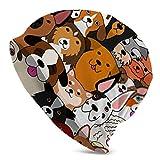 Doodle Hundemütze mit buntem Hintergrund, Strickmütze, für Herren und Damen