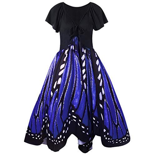 COZOCO Vestido sin Mangas con Estampado de Mariposa sin Mangas con Estampado de Mariposa de Manga Corta de Playa de Bohemia(Azul,XL