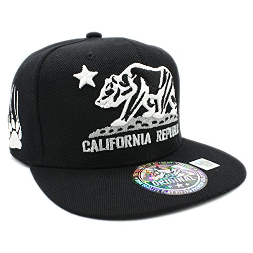 Embroidered California Republic with Bear Claw Scratch Snapback Cap (Black/Black)