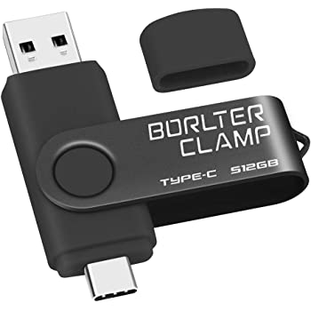 512GB Memoria USB Tipo C, BorlterClamp Doble Unidad Flash (USB C y USB-A 3.0), Type-C OTG Pendrive Memory Stick para Smartphones Android Samsung S10 S8, Huawei Honor, etc, Tableta y Laptop (Negro):