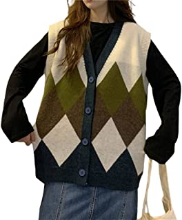 Women Sleeveless Knitted Vest Y2k V Neck Argyle PlaidKnitted Cardigan Vest Preppy Style Knitted Top