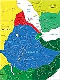 Poster 50 x 70 cm: Äthiopien - Politische Karte von