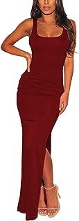 Women's Sexy Low Cut Side Shirring Bodycon High Slit Long Dress
