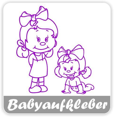 Babyaufkleber, Geschwisteraufkleber für Auto mit Wunschtext (GS-27)