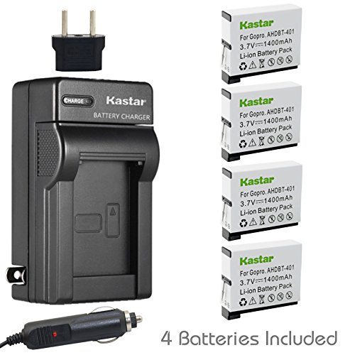 Kastar Battery (4-Pack) and Charger Kit for GoPro HERO4 and GoPro AHDBT-401, AHBBP-401 Sport Cameras