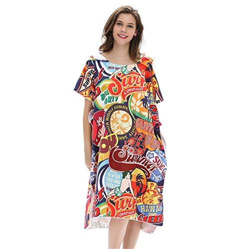 Huangjiahao handdoek, poncho, poncho, van badstof, sneldrogend, badmode voor volwassenen, eenheidsmaat voor surfen zwemmen en strand