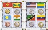 Prophila Collection Naciones Unidas - Nuevo York 1379-1386 Sheetlet (Completa.edición.) 2013 Banderas y Monedas (Sellos para los coleccionistas) Monedas y Billetes en Sello