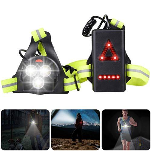 JOLVVN LED Lauflicht USB Wiederaufladbare Brustlampe Running Light, Sportlampe Brust Lampe 3 Modi Beleuchtung 500 LM Für Outdoor Sport Joggen Laufen Angeln Klettern