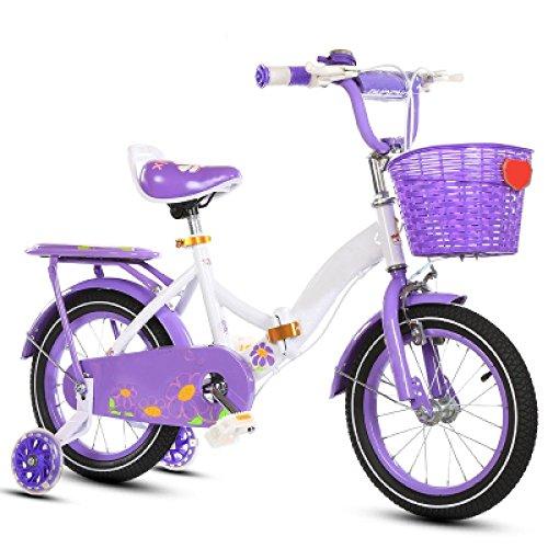 ZCRFY Bici Per Bambini Bike Foldable Ragazzi Ragazze 2-13 Anni Studenti Bambino Bicicletta Regolabile Telaio In Acciaio E Stand Peso Leggero Toddlers Equilibrio Sicuro,Purple*BlackTire-12Inches