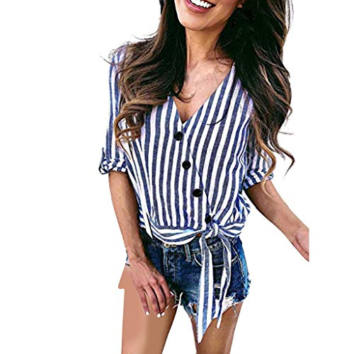 Damen Sommer T-Shirt Freizeit V Ausschnitt Halber Ärmel Frauen Sexy Vintage Krawatte Knoten Bedruckt Stretch Jahrgang Weste Yoga Tee Hemden Große Lose Bluse Tops (EU:40, Blau)