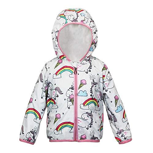 weLaken adorable chamarra de arcoíris y unicornio para niñas y niñas, ropa de chamarra casual con capucha, Blanco, 6 Años