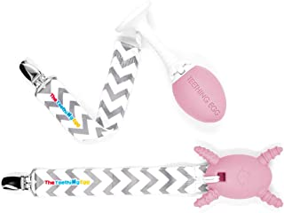 The Official Teething Egg Teething Bundle - Made in the USA- Includes The Molar Magician & Grippie Stick (Baby Pink)