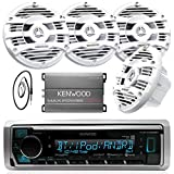 New Kenwood Marine Boat Yacht Bluetooth Digital USB AUX iPod iPhone AM/FM Radio Stereo Player With 4 X 6.5' Inch Kenwood Marine Audio Speakers Kenwood KAC-M2504 Compact 4-channel Marine Amplifier And Enrock Marine 45' Antenna - Complete Marine Outdoor Aud