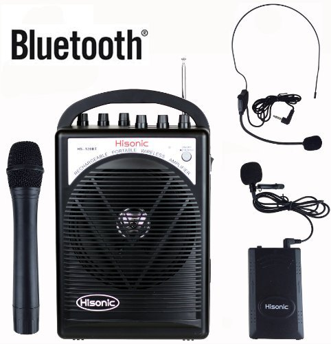 HISONIC HS120BT HL Portable PA System with Wireless Microphones and Lithium Rechargeable Battery and Car Cable Bluetooth Connected with Cell Phones and Pads Black