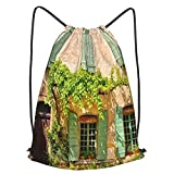 Bolsa Cuerdas con cordón impermeable Unisex,Rustic House Front With Green Wooden Shuttered Windows And Leafy Facade Provence France,LigeroCasual ,Deporte Gimnasio Mochilas