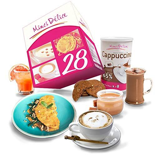 Régimen Adelgazante Hiperproteico 28 días Desayuno Cappuccino Paquete 66 productos 1 coctelera y 1 guía de regalo – pérdida de peso optimizada en 4 semanas