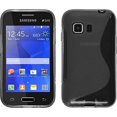 PhoneNatic Case kompatibel mit Samsung Galaxy Young 2 - grau Silikon Hülle S-Style + 2 Schutzfolien