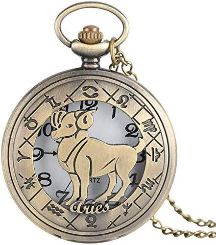 ZHANGYY Aries Design Reloj de Bolsillo de Cuarzo Doce Constelaciones Collar con Colgante de Bronce Cadena Casual Hombres Mujeres Reloj de Bolsillo Regalos para la Familia