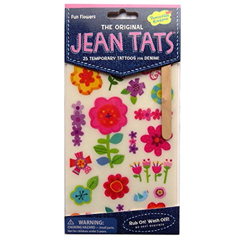 L'original Jean / Denim / Tissu Tatouages - Fleurs d'amusement - par Peaceable Kingdom
