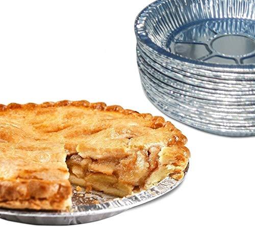 HOMGREEN Platos desechables de aluminio para hornear platos desechables de hojalata para tartas, quiche de 9 pulgadas de aluminio para tartas, moldes de papel de aluminio fáciles (50 unidades)