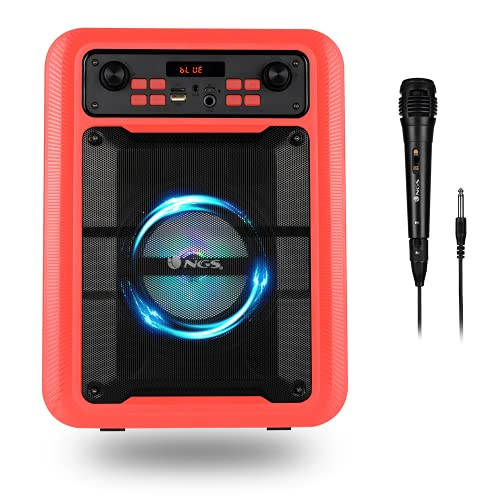 NGS Roller Lingo Red - Altavoz Portátil 20W con Tecnología Bluetooth 5.0 y True Wireless Stereo, con Micrófono para Karaoke y Luces LED Incorporadas (USB/MicroSD/Line IN/Entrada micrófono), Rojo