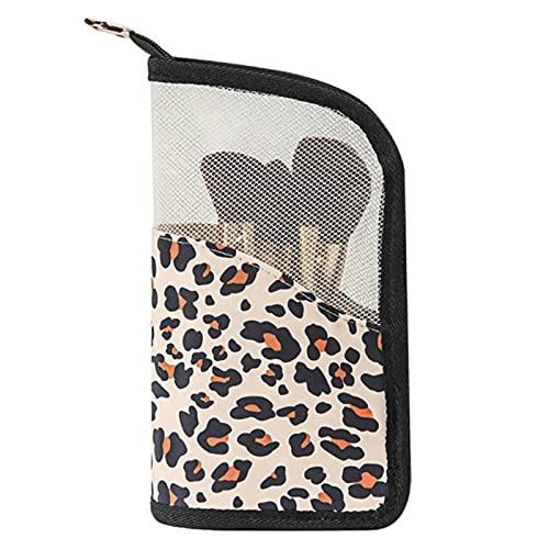 Trousse de voyage transparente avec fermeture éclair pour pinceaux de maquillage, léopard,
