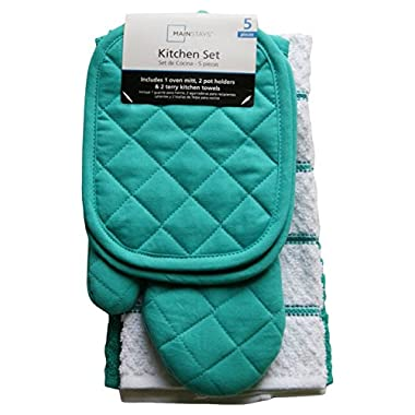 Mainstays Teal Island Kitchen Towel Set 5 Piece- Pot Holders, Oven Mitt & 2 Terry Kitchen Towels (1, A)