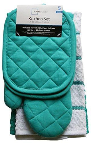 Mainstay Teal Island Kitchen Towel Set 5 Piece- Pot Holders, Oven Mitt & 2 Terry Kitchen Towels (1, A)