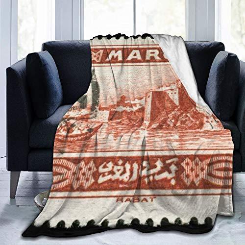 """YOLIKA Manta de Tiro,Sello de Marruecos Vintage francés Rojo Que representa la Ciudad Capital de Rabat, Costa Atlántica Post,Microfibra Sala de Estar/sofá Cama edredón de Franela,40"""" x 50"""""""