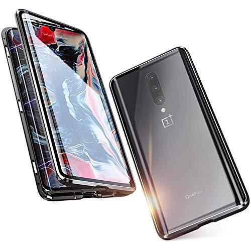 OnlyCase Handyhülle für OnePlus Nord Hülle Magnetic Adsorption, Schutzhülle 360 Grad Komplett Schutz Hülle 2 in 1 Metall Bumper mit Gehärtetes Glas Ultra Dünn Transparent Case Cover, schwarz
