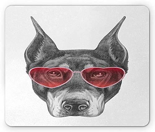 Sonnenbrillen-Mauspad, cooles Muster eines Hundes in herzförmigen Schattierungen Bleistift gezeichnetes Kunstwerk, rechteckiges rutschfestes Gummi-Mauspad, Standardgröße, zinnoberrotes Grauweiß