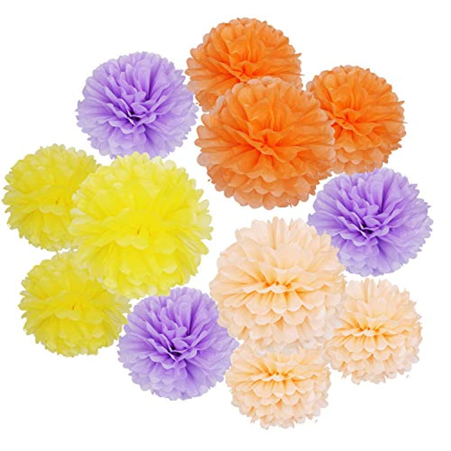 Landisun Party Tissue Paper Flowers Pom Poms Birthday/Wedding/Baby Shower/Bachelorette Decoration Flowers of 10 inches(12pcs). (4 Colors)
