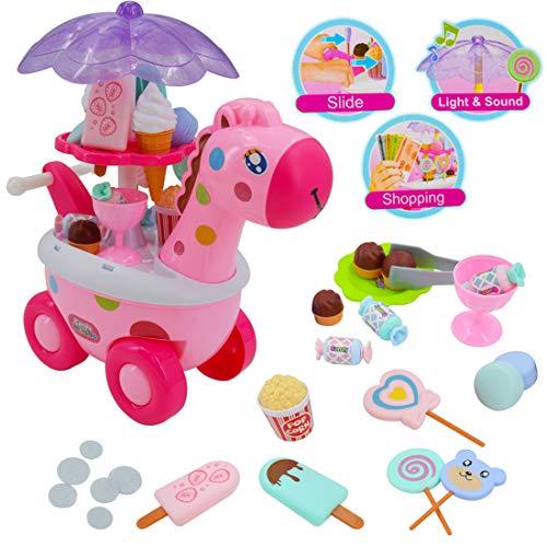 TIENDA DE DULCES: Chuchería y Heladería. Carrito con diseño de jirafa rosa, con luces de colores LED y música. CONTENIDOS: El carrito jirafa incluye piruletas, caramelos, helado, conos, macaroons , bombones, palomitas de maíz y dinero de juguete. DIS...