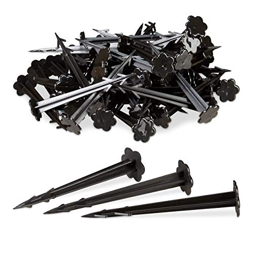 Relaxdays, noir Piquets sol en plastique, clous, lot de 100, sardines, jardin, tente, fixation terre 11,5 cm, Pack