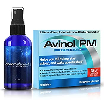 Avinol PM Extra Strength and Dream Elements Calming Pillow Spray   All-in-One Natural Sleep Aid  30 ct  - Soothing Essential Oil Blend -  4oz