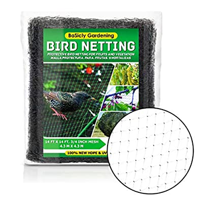 Bird Netting for Garden, Fruit Tree Poultry Protection Net, Reusable Protective Net for Garden, Plants, Trees - Extra Strong Against Deer, Squirrels - Easy to Use, Tangle Free, 14 ft X 14 ft 3/4 Mesh