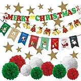 ミウォルナ クリスマス 飾り 飾り付け 7種類セット 装飾 壁飾り デコレーション 豪華 大容量セット ボンボンフラワー ガーランド オーナメント スター ツリー 星 飾りつけ