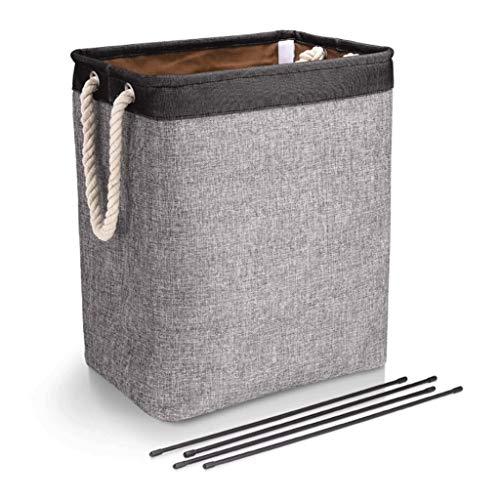 Laundry Hamper Clothes Basket Laundry Hamper with Handle Simple Foldable Cotton and Linen Fabric Dirty Clothes Hamper Built-in Lining and Detachable Stand Durable Washing Bin, Dirty Clothes Storage