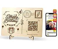 QR.Gift ハッピーバースデー 木製カード ビデオ録画付き ハンドメイドグリーティングカード 本物の木製ポストカード 誕生日おもしろギフト