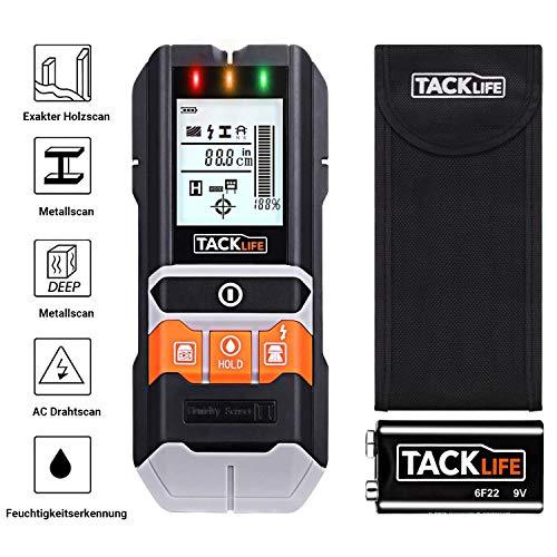 2020 Advanced - Tacklife Ortungsgerät, 5 in 1 Metalldetektor Wand Scanner Detektor, mit Großer LCD Hintergrundbeleuchtung, mit Schutztasche für Stromleitung Holz Metall und Feuchtigkeit - DMS05
