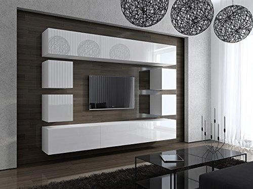 FUTURE 17 Moderne Wohnwand, Exklusive Mediamöbel, TV-Schrank, Neue Garnitur, Große Farbauswahl (Weiß MAT base / Weiß HG front) - 3