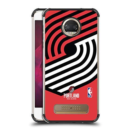 Officiële NBA Oversized pictogram Portland Trail Blazers Zwarte Shockproof Fender Case Compatibel voor Motorola Moto Z2 Play