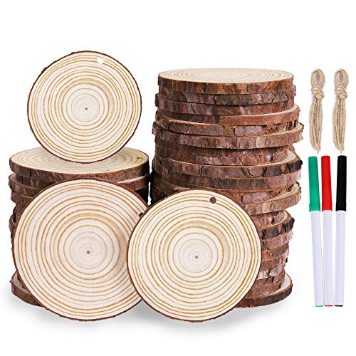 Max Fun Natural Wood Slices 30Pcs 2-2.8'' Craft Wood Kit Christmas Ornaments Unfinished Predrilled with Hole Wooden Circles for Arts and Crafts Christmas Holiday Ornaments DIY Crafts