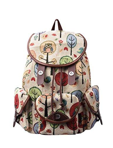 Douguyan Vintage Casual Canvas Travel Bag Backpack Junge Damen Klein Freizeit Rucksäcke...