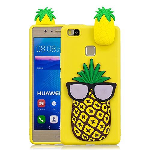 Funda para Huawei P9 Lite Silicona Dibujos 3D,QFUN Carcasa de TPU Goma Caja Suave Flexible Ultra Fina Gel Bumper Case Anti-rasguños Anti-golpes Cubierta y Protector Pantalla para Huawei P9 Lite (Piña)